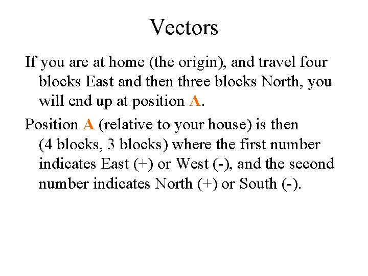 Vectors If you are at home (the origin), and travel four blocks East and