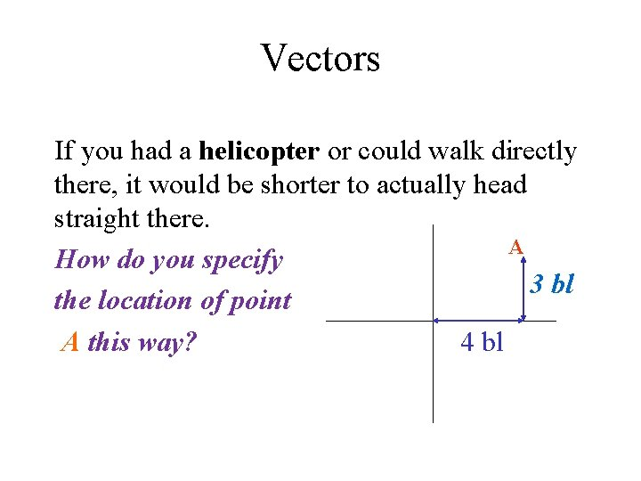 Vectors If you had a helicopter or could walk directly there, it would be