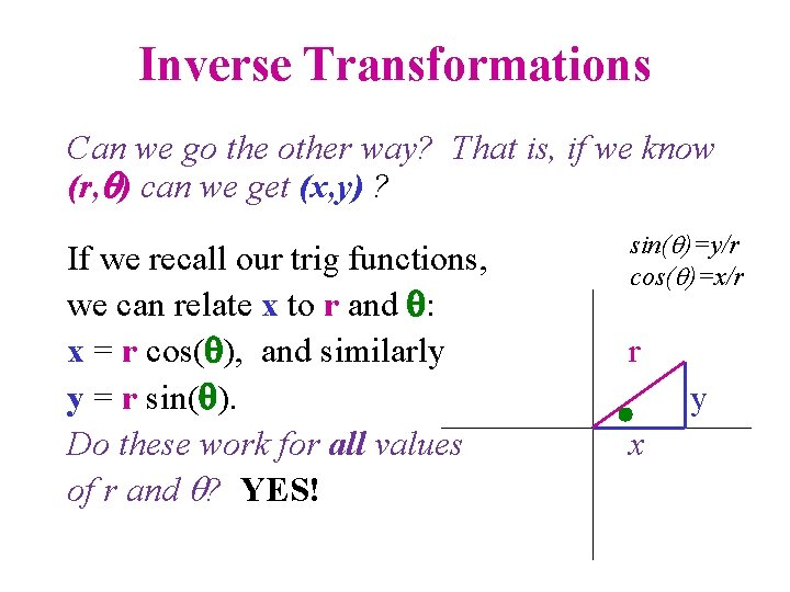Inverse Transformations Can we go the other way? That is, if we know (r,