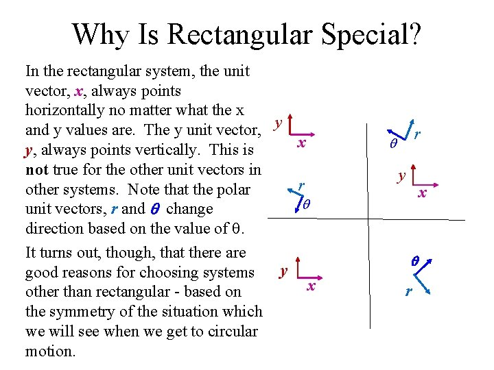 Why Is Rectangular Special? In the rectangular system, the unit vector, x, always points