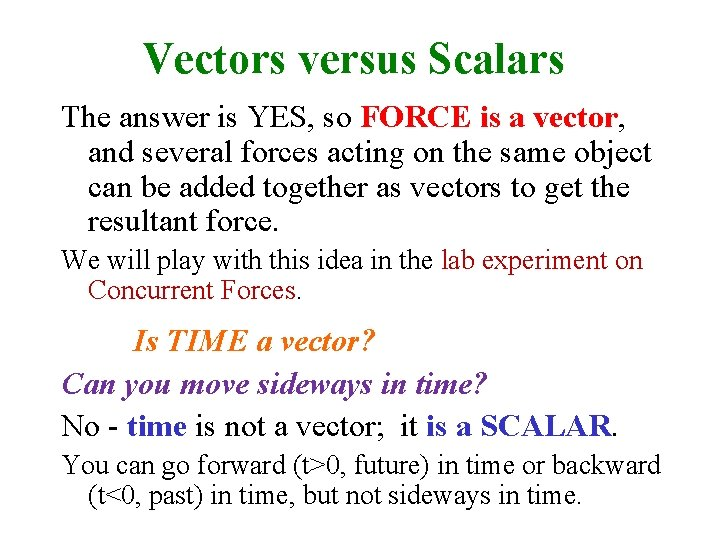 Vectors versus Scalars The answer is YES, so FORCE is a vector, and several
