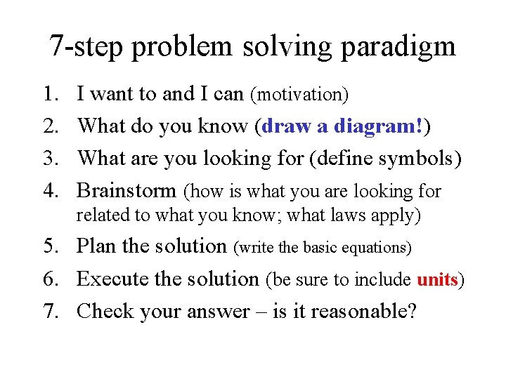 7 -step problem solving paradigm 1. 2. 3. 4. I want to and I