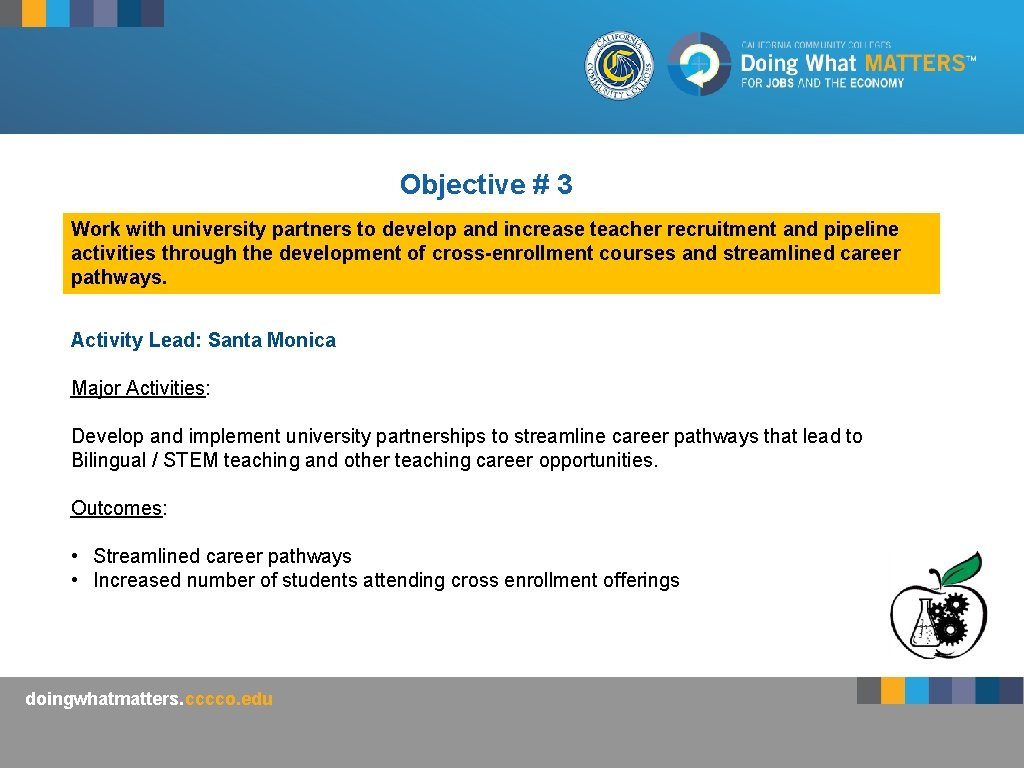 Objective # 3 Work with university partners to develop and increase teacher recruitment and