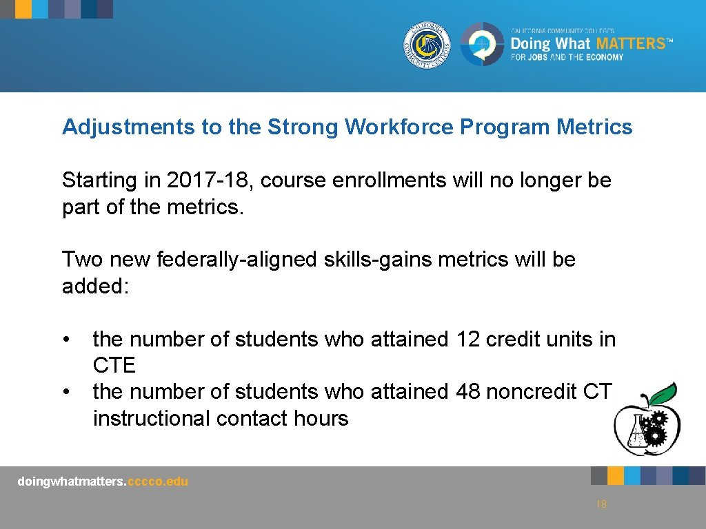Adjustments to the Strong Workforce Program Metrics Starting in 2017 -18, course enrollments will