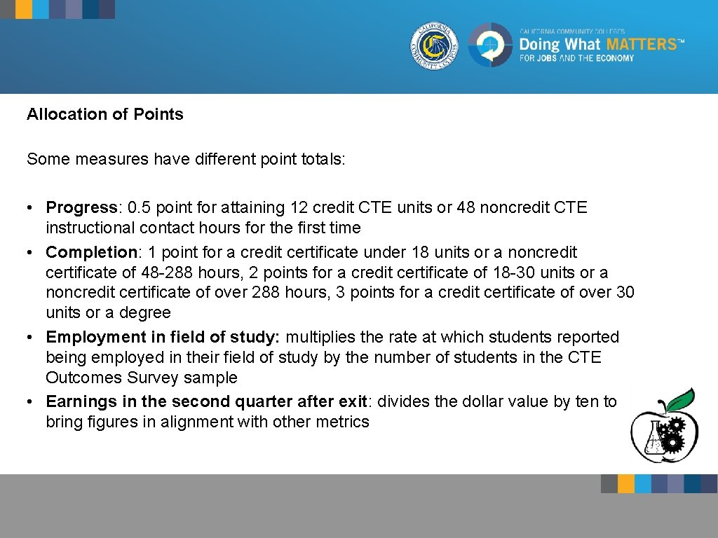 Allocation of Points 17% Incentive Funding Some measures have different point totals: • •