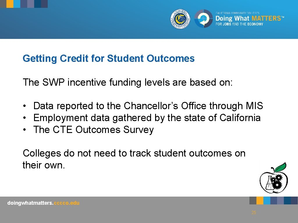 Getting Credit for Student Outcomes The SWP incentive funding levels are based on: •