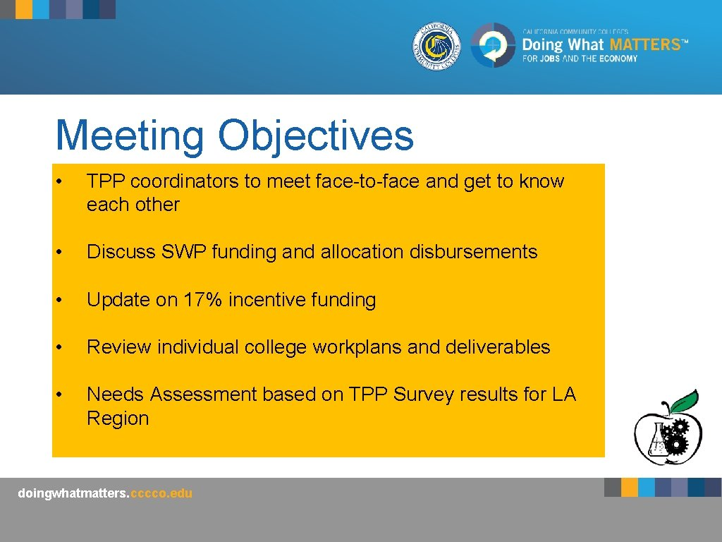 Meeting Objectives • TPP coordinators to meet face-to-face and get to know each other