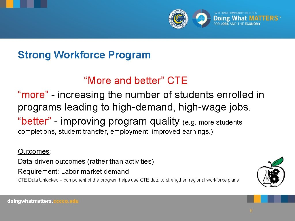 """Strong Workforce Program """"More and better"""" CTE """"more"""" - increasing the number of students"""