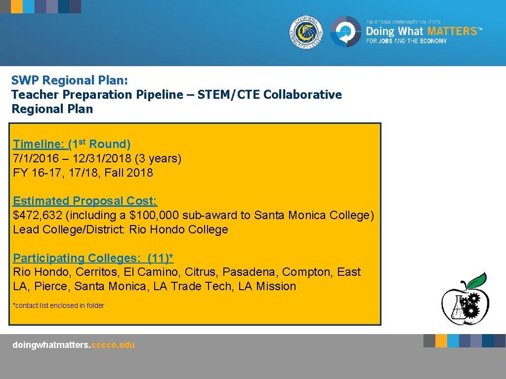 SWP Regional Plan: Teacher Preparation Pipeline – STEM/CTE Collaborative Regional Plan Timeline: (1 st