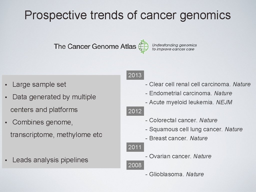 Prospective trends of cancer genomics 2013 • Large sample set • Data generated by