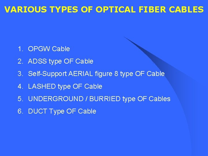 VARIOUS TYPES OF OPTICAL FIBER CABLES 1. OPGW Cable 2. ADSS type OF Cable