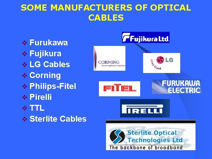 SOME MANUFACTURERS OF OPTICAL CABLES v Furukawa v Fujikura v LG Cables v Corning