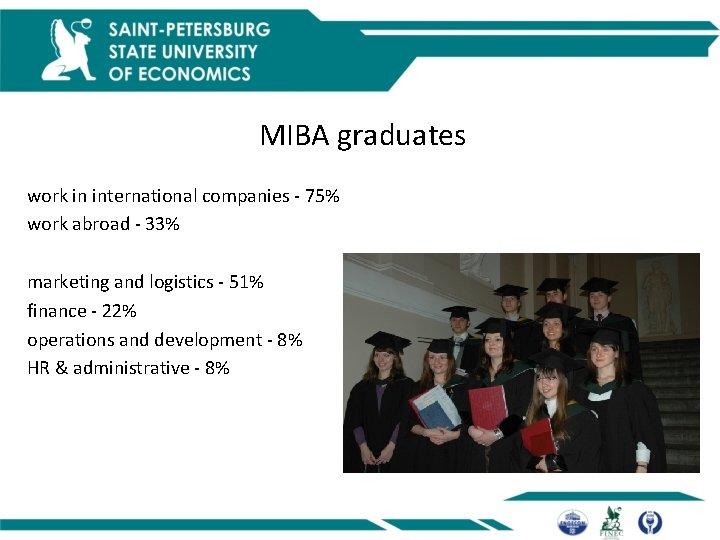 MIBA graduates work in international companies - 75% work abroad - 33% marketing and