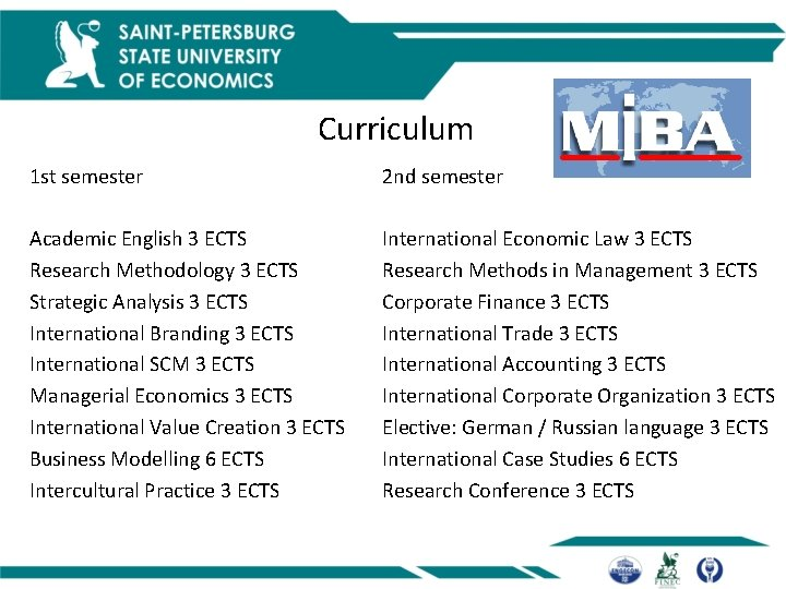Curriculum 1 st semester Academic English 3 ECTS Research Methodology 3 ECTS Strategic Analysis