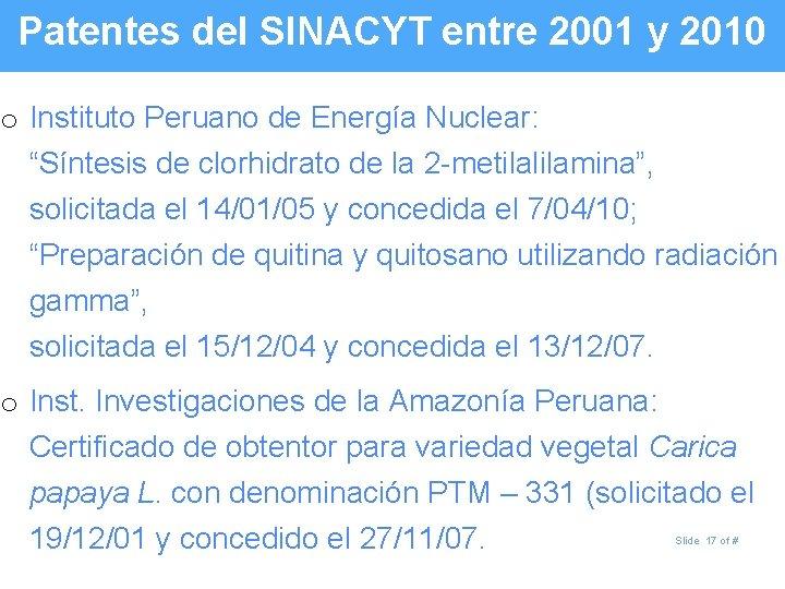 """Patentes del SINACYT entre 2001 y 2010 o Instituto Peruano de Energía Nuclear: """"Síntesis"""