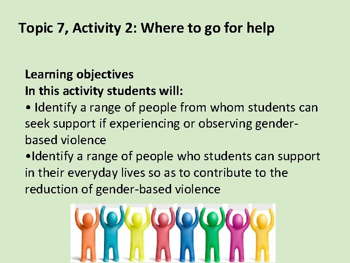 Topic 7, Activity 2: Where to go for help Learning objectives In this activity