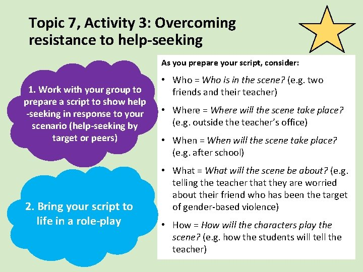 Topic 7, Activity 3: Overcoming resistance to help-seeking As you prepare your script, consider: