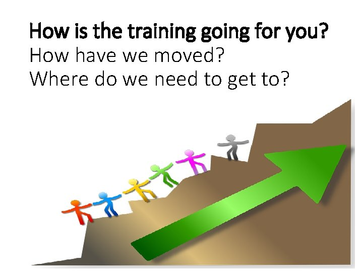 How is the training going for you? How have we moved? Where do we