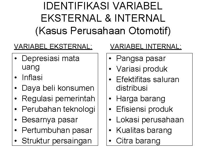 IDENTIFIKASI VARIABEL EKSTERNAL & INTERNAL (Kasus Perusahaan Otomotif) VARIABEL EKSTERNAL: VARIABEL INTERNAL: • Depresiasi