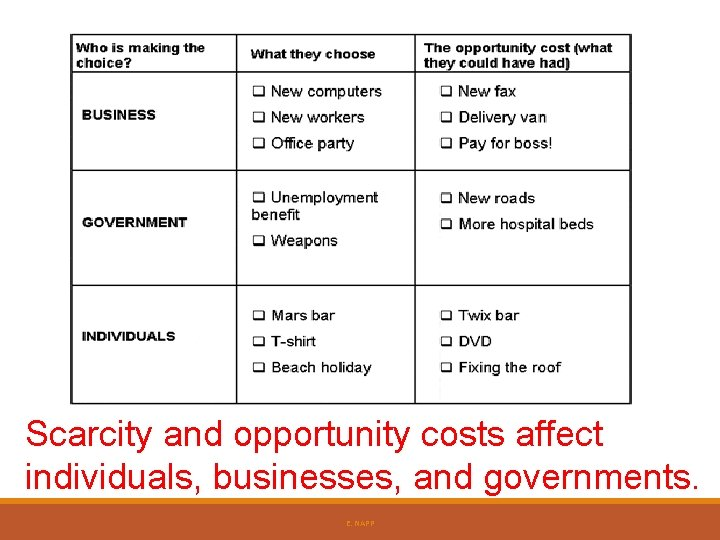 Scarcity and opportunity costs affect individuals, businesses, and governments. E. NAPP