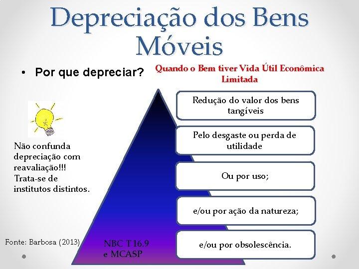 Depreciação dos Bens Móveis • Por que depreciar? Quando o Bem tiver Vida Útil