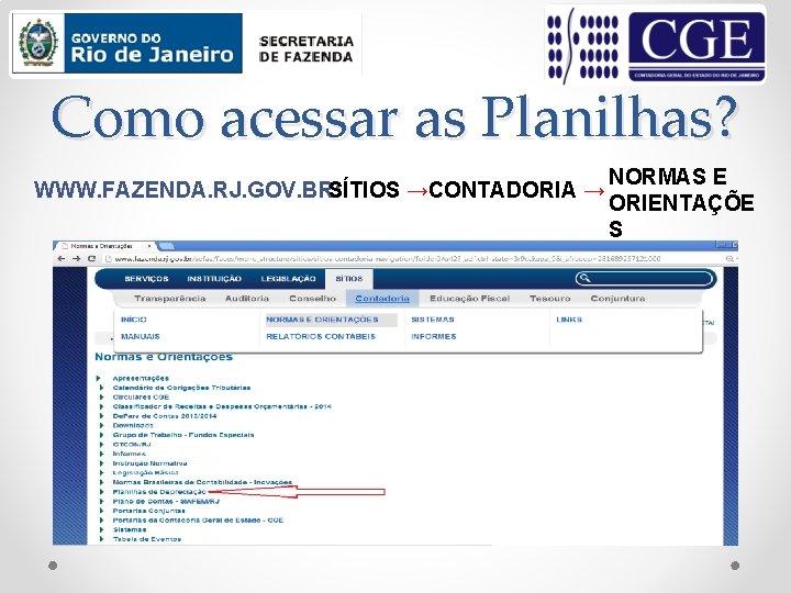 Como acessar as Planilhas? WWW. FAZENDA. RJ. GOV. BR: SÍTIOS →CONTADORIA → NORMAS E