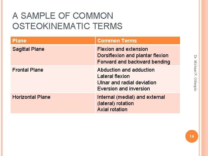 A SAMPLE OF COMMON OSTEOKINEMATIC TERMS Common Terms Sagittal Plane Flexion and extension Dorsiflexion