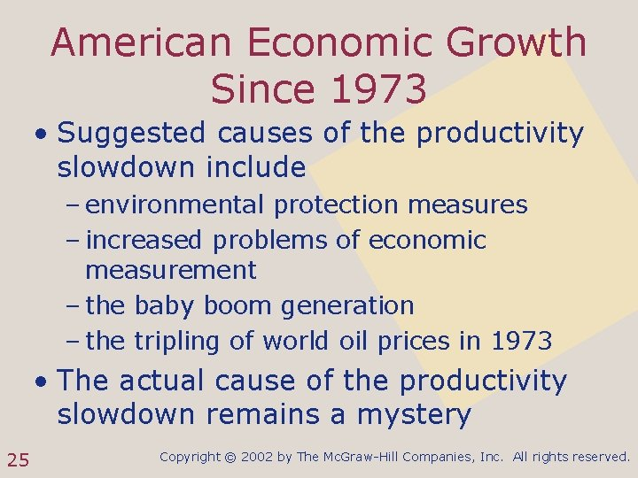 American Economic Growth Since 1973 • Suggested causes of the productivity slowdown include –