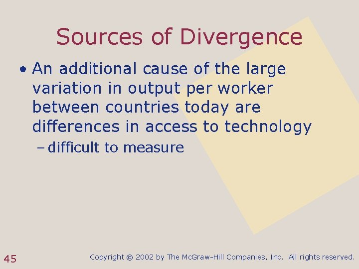 Sources of Divergence • An additional cause of the large variation in output per