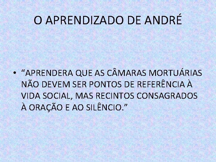 """O APRENDIZADO DE ANDRÉ • """"APRENDERA QUE AS C MARAS MORTUÁRIAS NÃO DEVEM SER"""