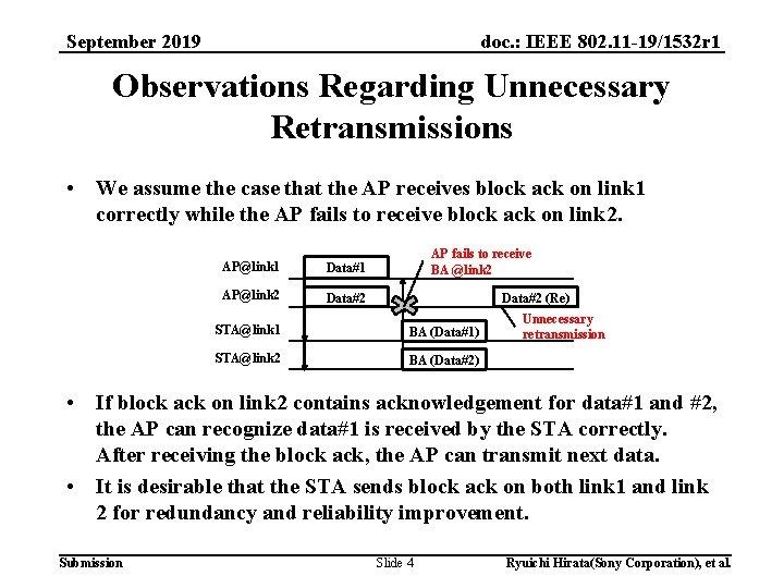 doc. : IEEE 802. 11 -19/1532 r 1 September 2019 Observations Regarding Unnecessary Retransmissions