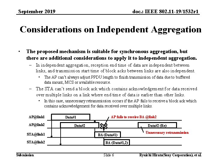 doc. : IEEE 802. 11 -19/1532 r 1 September 2019 Considerations on Independent Aggregation