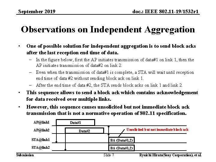 doc. : IEEE 802. 11 -19/1532 r 1 September 2019 Observations on Independent Aggregation