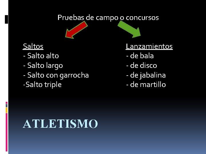 Pruebas de campo o concursos Saltos - Salto largo - Salto con garrocha -Salto