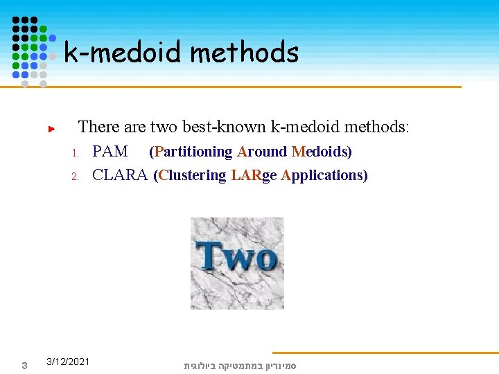 k-medoid methods There are two best-known k-medoid methods: 1. 2. 3 3/12/2021 PAM (Partitioning