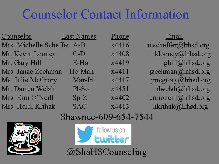 Counselor Contact Information Counselor Last Names Mrs. Michelle Scheffer A-B Mr. Kevin Looney C-D