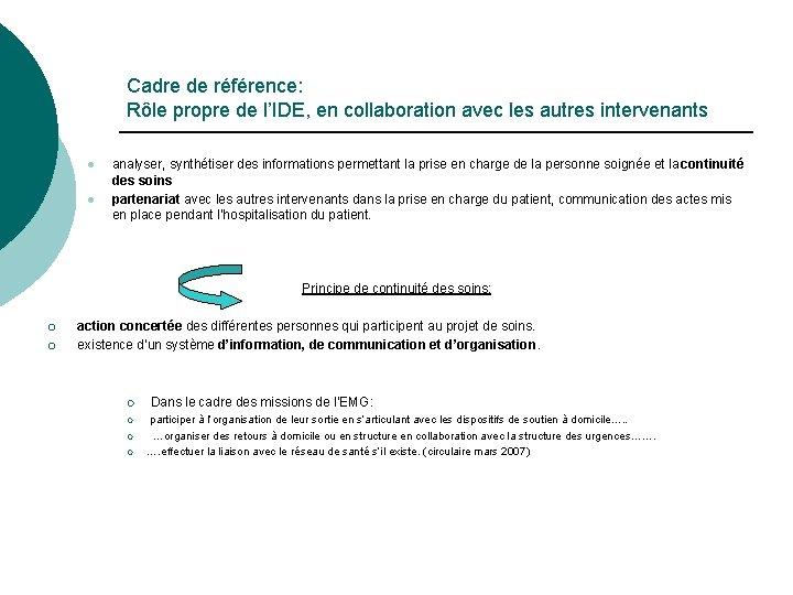 Cadre de référence: Rôle propre de l'IDE, en collaboration avec les autres intervenants l