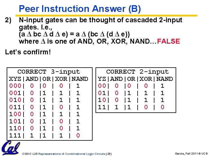 1) Peer Instruction Answer (B) 2) N-input gates can be thought of cascaded 2