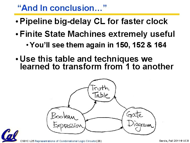 """""""And In conclusion…"""" • Pipeline big-delay CL for faster clock • Finite State Machines"""