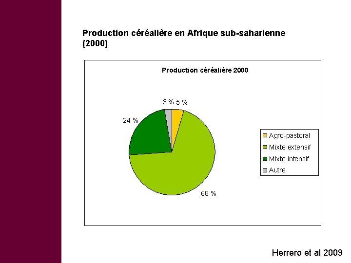 Production céréalière en Afrique sub-saharienne (2000) Production céréalière 2000 3 % 5 % 24