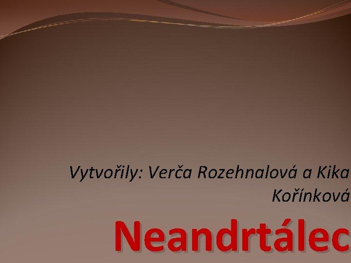 Vytvořily: Verča Rozehnalová a Kika Kořínková Neandrtálec