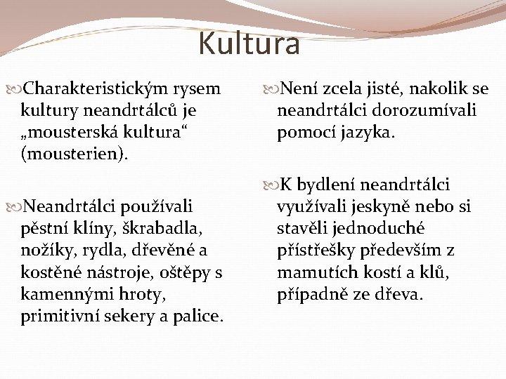 """Kultura Charakteristickým rysem kultury neandrtálců je """"mousterská kultura"""" (mousterien). Neandrtálci používali pěstní klíny, škrabadla,"""