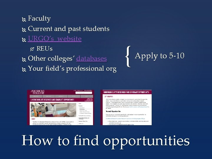 Faculty Current and past students URGO's website REUs Other colleges' databases Your field's professional