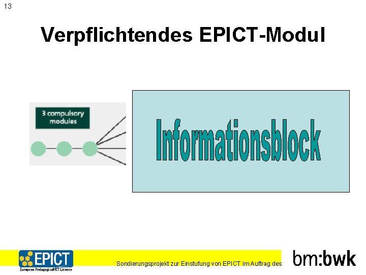 13 Verpflichtendes EPICT-Modul Sondierungsprojekt zur Einstufung von EPICT im Auftrag des
