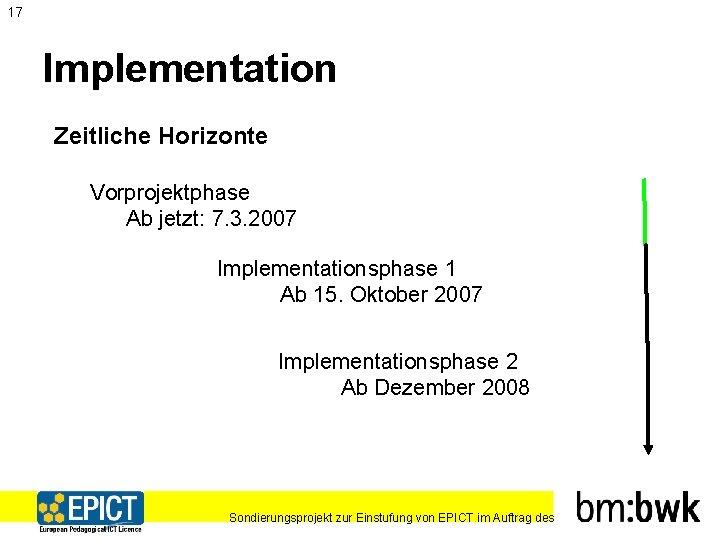 17 Implementation Zeitliche Horizonte Vorprojektphase Ab jetzt: 7. 3. 2007 Implementationsphase 1 Ab 15.