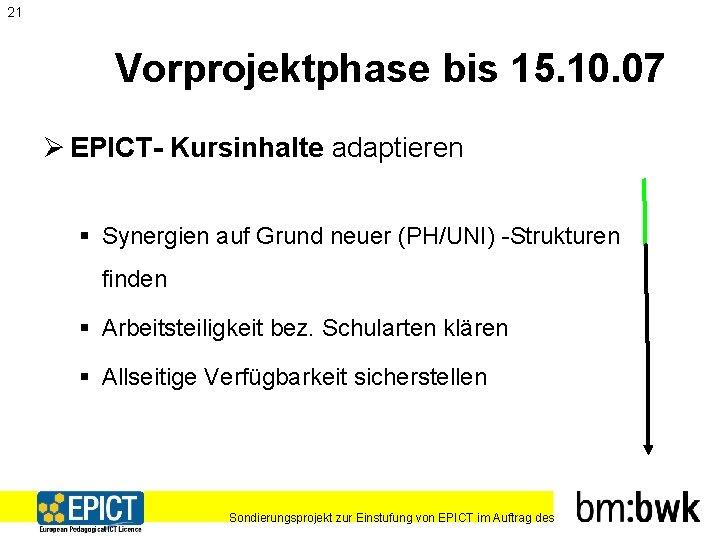 21 Vorprojektphase bis 15. 10. 07 Ø EPICT- Kursinhalte adaptieren § Synergien auf Grund