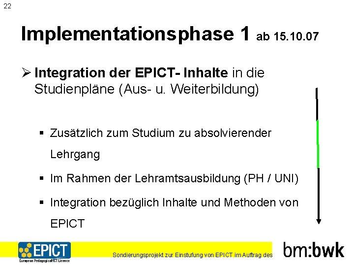 22 Implementationsphase 1 ab 15. 10. 07 Ø Integration der EPICT- Inhalte in die