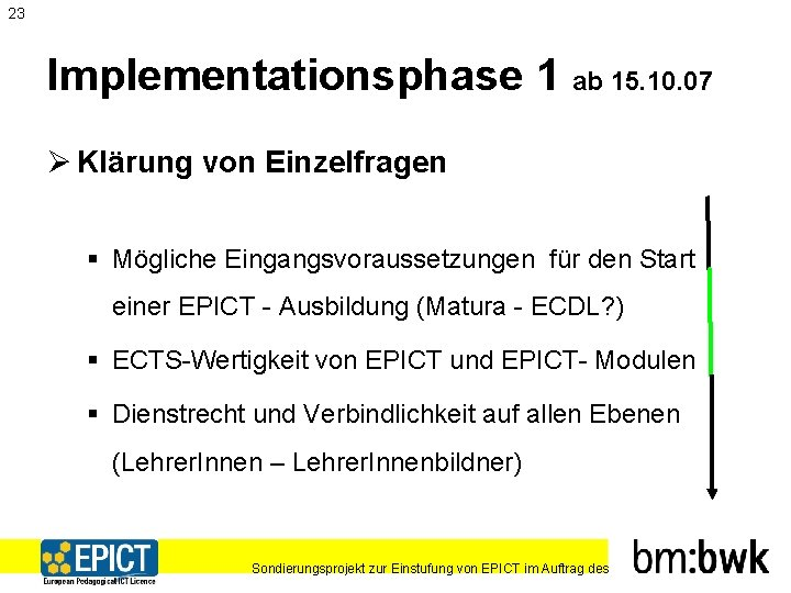 23 Implementationsphase 1 ab 15. 10. 07 Ø Klärung von Einzelfragen § Mögliche Eingangsvoraussetzungen