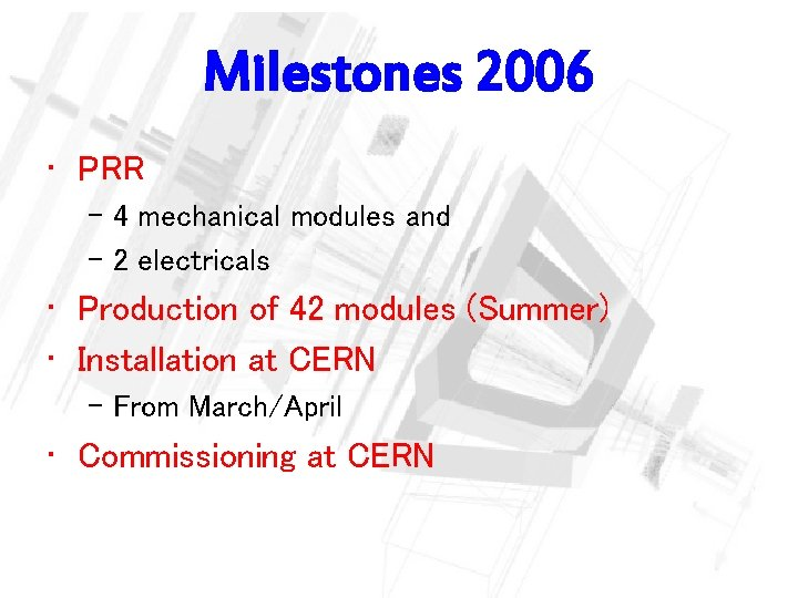 Milestones 2006 • PRR – 4 mechanical modules and – 2 electricals • Production