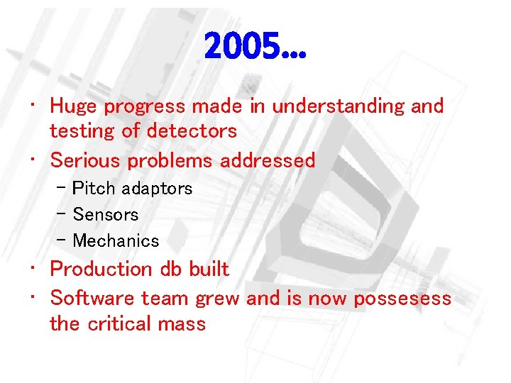2005… • Huge progress made in understanding and testing of detectors • Serious problems